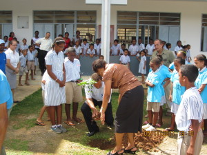 Mr Agricole and Ms. Delcy planting the first tree at Baie Lazare Primary School
