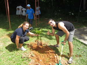 Planting endemic plants at the Baie Lazare School Creche