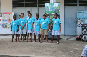 Students from the Sustainability Club of Seychelles performing their song