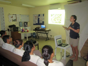 And the Four Seasons Resort Seychelles team was very supportive and keen to learn about corals too: here I am giving a presentation about the Reef restoration project to a very interested SPA team.