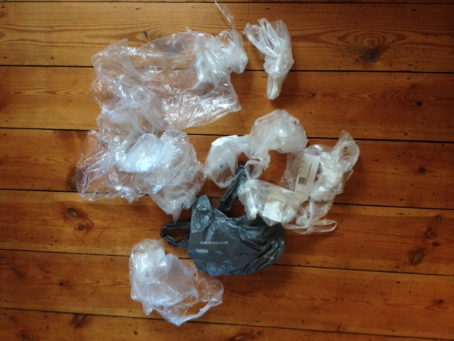 Plastic bags from 'bagless' online shopping