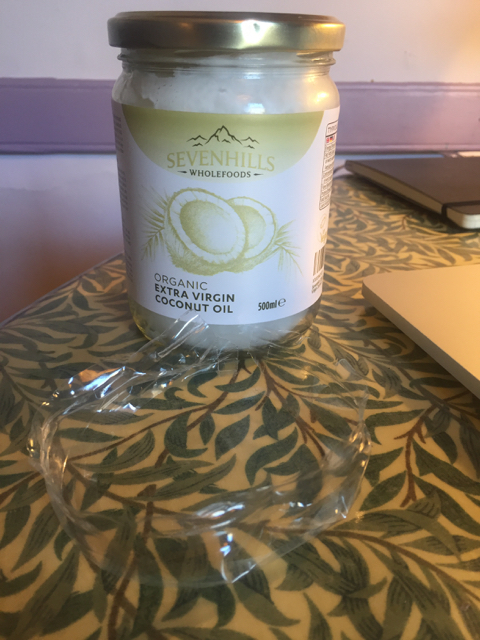 The amazing coconut oil (with plastic wrapper)
